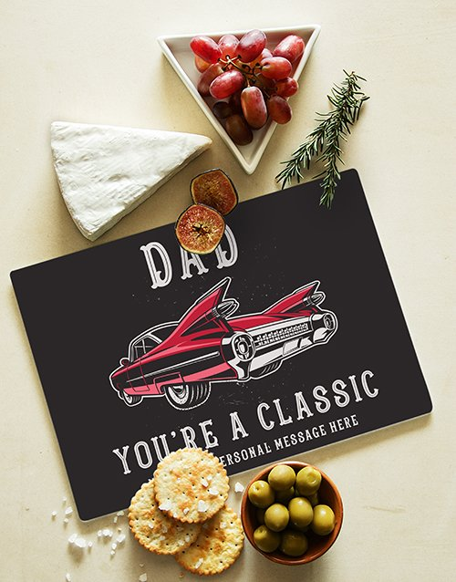 homeware: Personalised Classic Dad Glass Chopping Board !