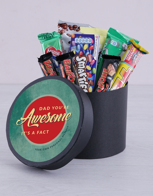 chocolate: Personalised Awesome Dad Chocolate Hat Box!