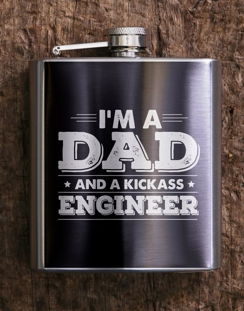 fine-alcohol: Personalised Kickass Dad Hip Flask!