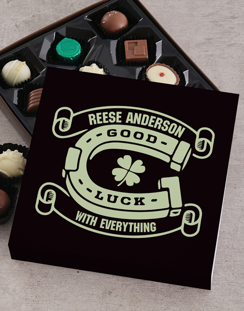 good-luck: Personalised Vines Good Luck Choc Tray!