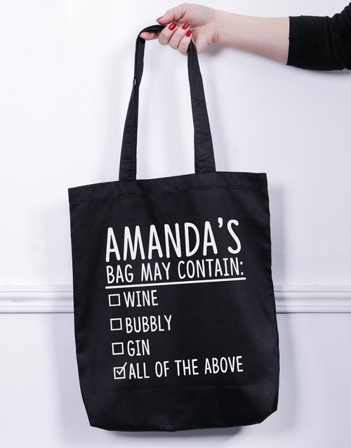 personalised: Personalised Contain Alcohol Tote Bag!