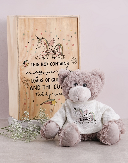 apology: Personalised Unicorn Teddy in Box!