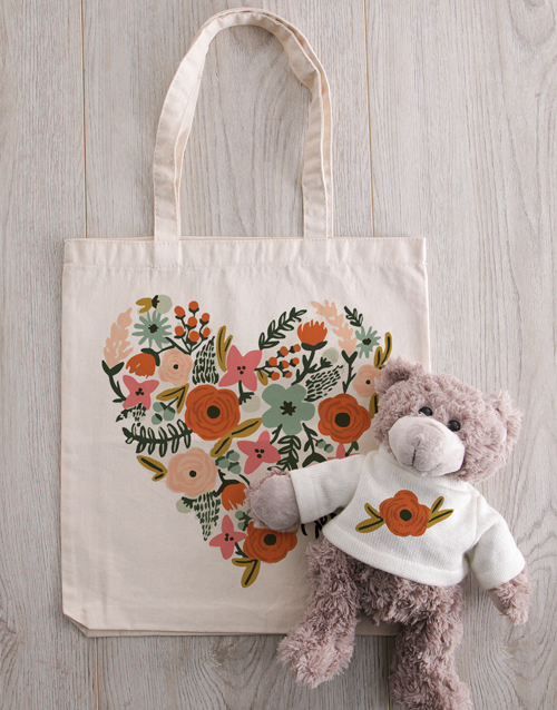 friendship: Personalised Floral Heart Teddy in Tote Bag!
