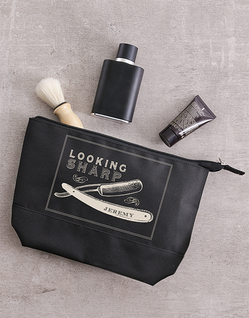 fathers-day: Personalised Looking Sharp Gents Wash Bag!