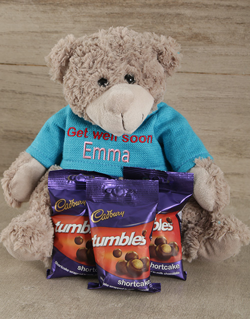 chocolate: Personalised Get Well Soon Teddy and Tumbles!