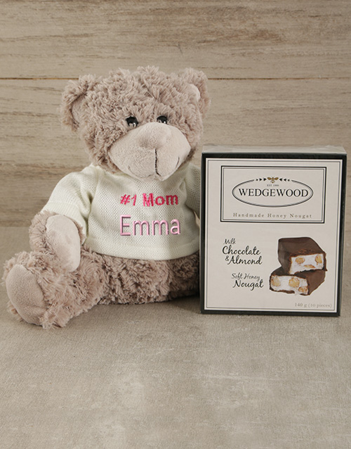 personalised: Personalised Number One Mom Teddy and Nougat!