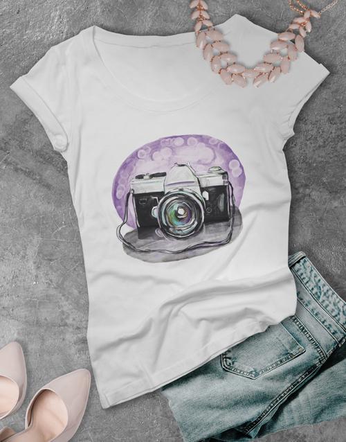 clothing: Ladies Watercolour Camera Tshirt!