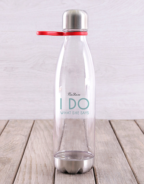 activewear: Personalised What She Says Water Bottle !