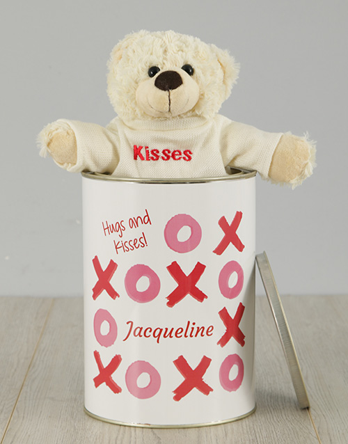 personalised: Personalised Hugs and Kisses Teddy Tin!