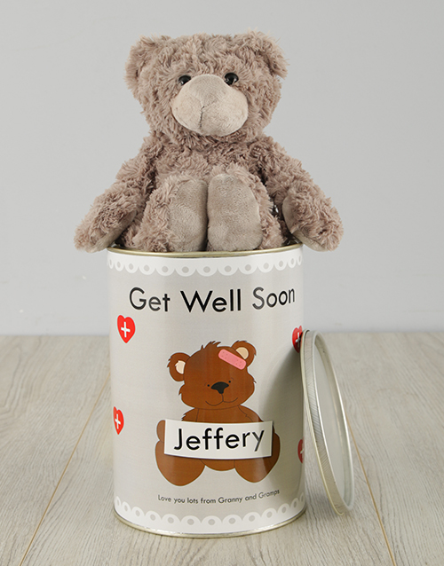 get-well: Personalised Get Well Soon Teddy Tin!