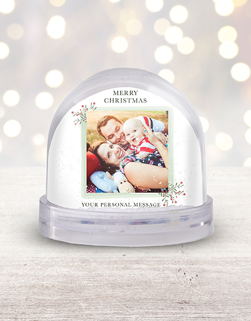 christmas: Personalised Merry Christmas Photo Snow Globe!