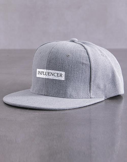 activewear: Personalised Grey Serif Slogan Peak Cap!