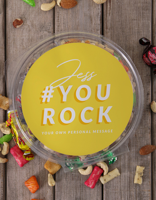 gourmet: Personalised You Rock Fruit and Nut Tub!