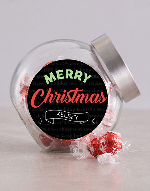 chocolate: Personalised Chalk Merry Christmas Candy Jar!