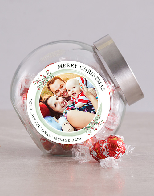 chocolate: Personalised Photo Merry Christmas Candy Jar!