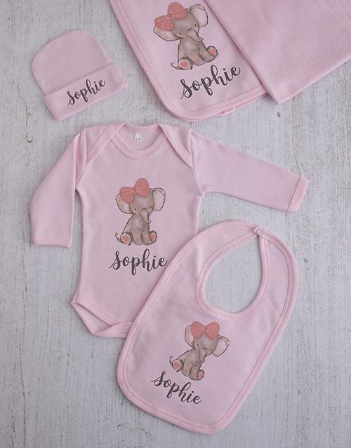 baby: Personalised Elephant Girl Clothing Gift Set!