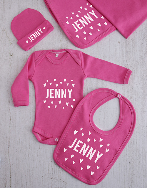 baby: Personalised Hearts Clothing Gift Set!