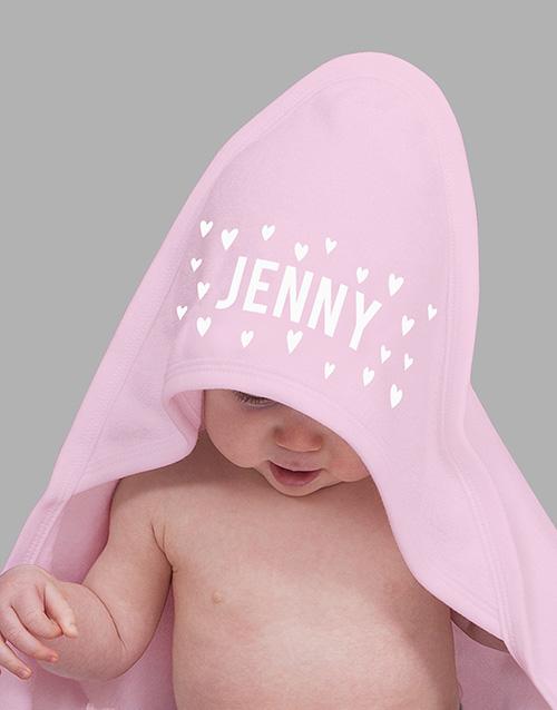 personalised: Personalised Pink Hearts Hooded Baby Towel!