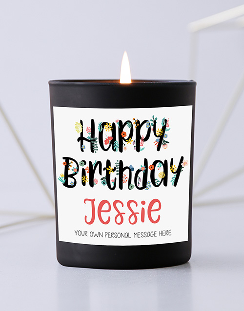 personalised: Personalised Floral Birthday Black Candle!