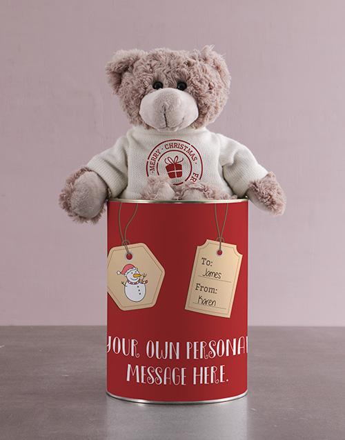 christmas: Teddy in a Christmas Tags Tin!