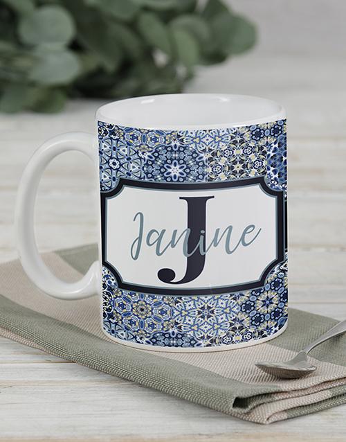 personalised: Personalised Blue Initial Mug Set!
