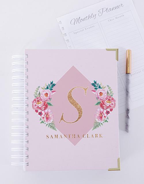 personalised: Personalised Floral Initial Journal!