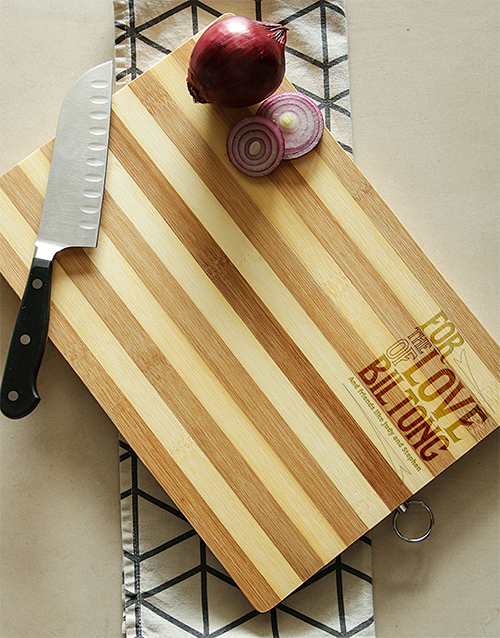personalised: Personalised The Love of Biltong Chopping Board!