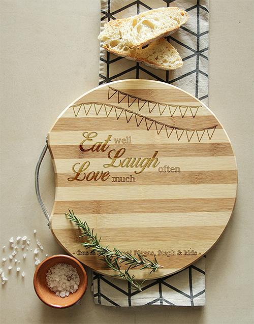 homeware: Personalised Eat, Laugh, Love Chopping Board!