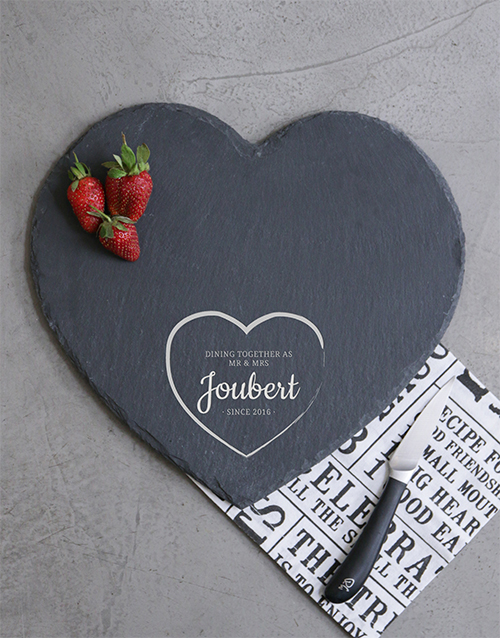 personalised: Personalised Mr & Mrs Heart Slate Board!