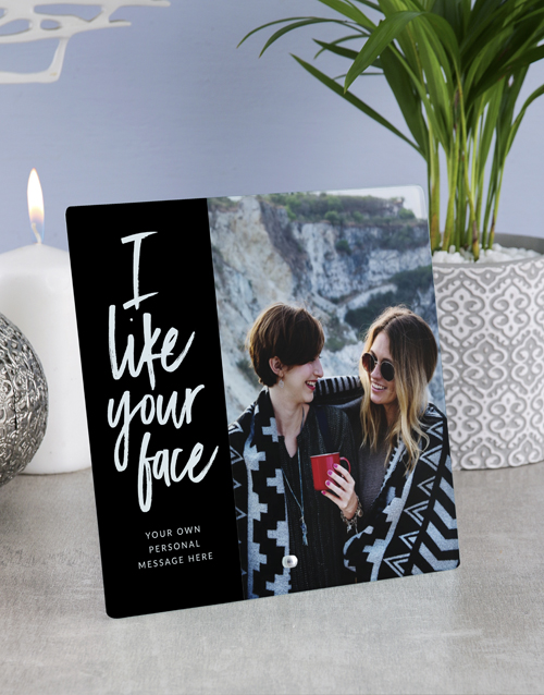 friendship: Personalised I Like Your Face Glass Tile!