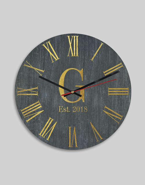 anniversary: Personalised Roman Monogram Date And Clock!