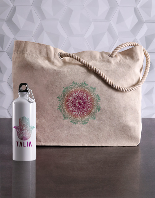 spring-day: Personalised Mendhi Waterbottle and Tote!