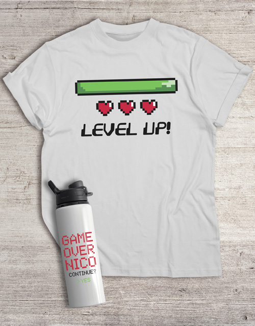 personalised: Personalised Level Water Bottle And T Shirt!