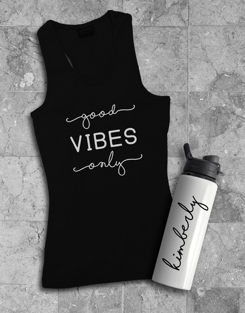 activewear: Personalised Vibes Water Bottle And Racer Back!