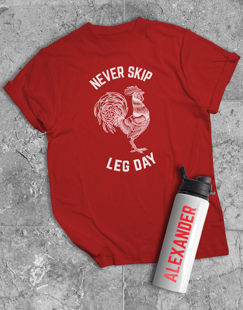 personalised: Personalised Leg Day Water Bottle And T Shirt!