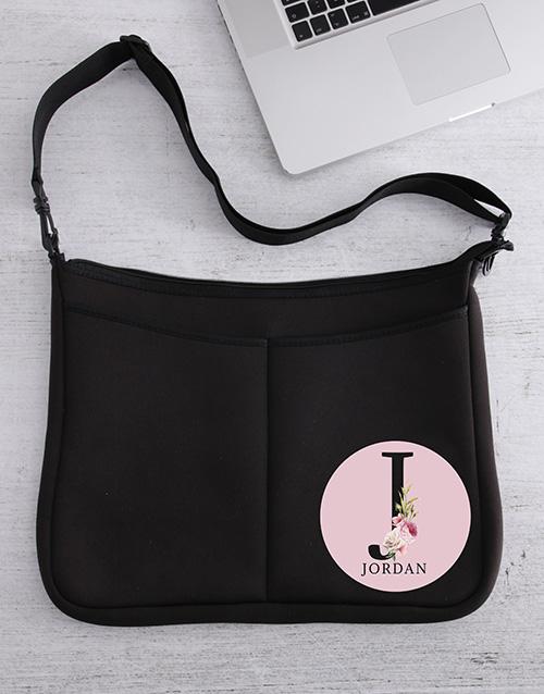 gifts: Personalised Rose Initial Laptop Bag!
