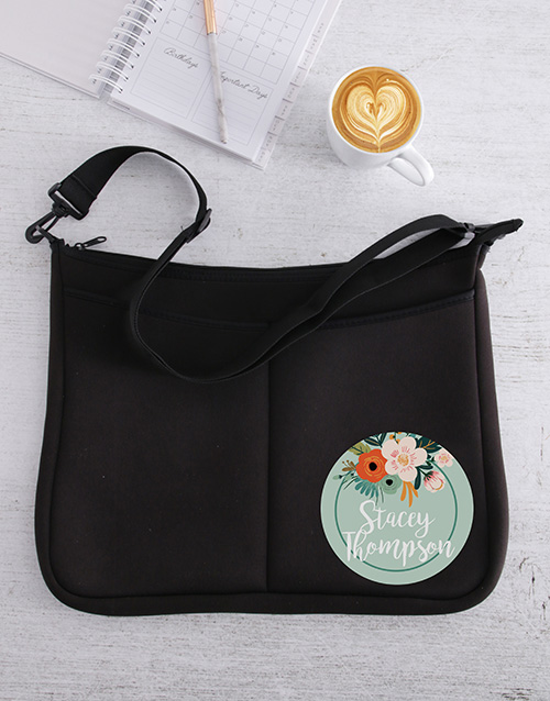 gifts: Personalised Floral Laptop Bag!