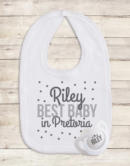 baby: Personalised Grey Stars Gift Set!