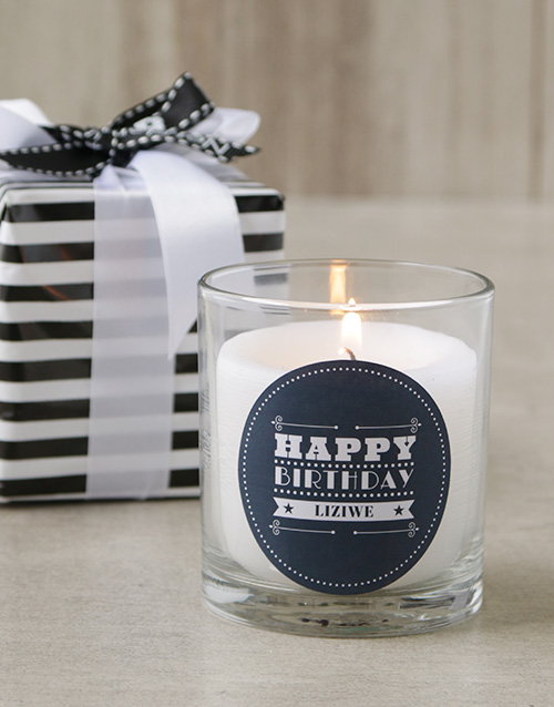 birthday: Personalised Glam Happy Birthday Candle!