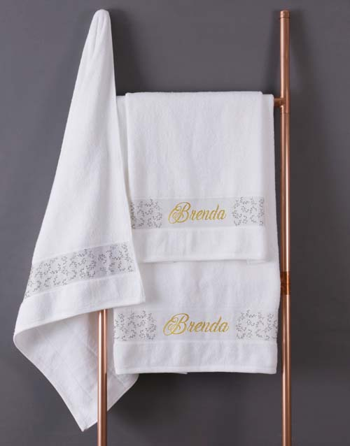 mothers-day: Personalised Leaf Foilage White Towel Set!