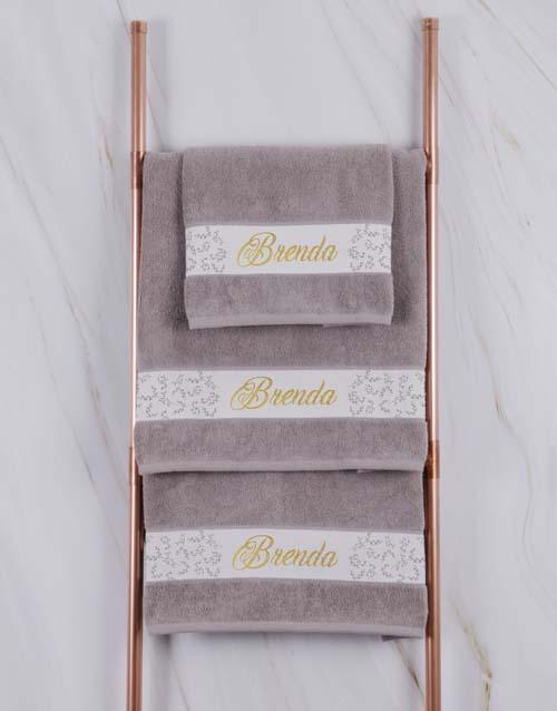 house-warming: Personalised Leaf Foilage Stone Towel Set!