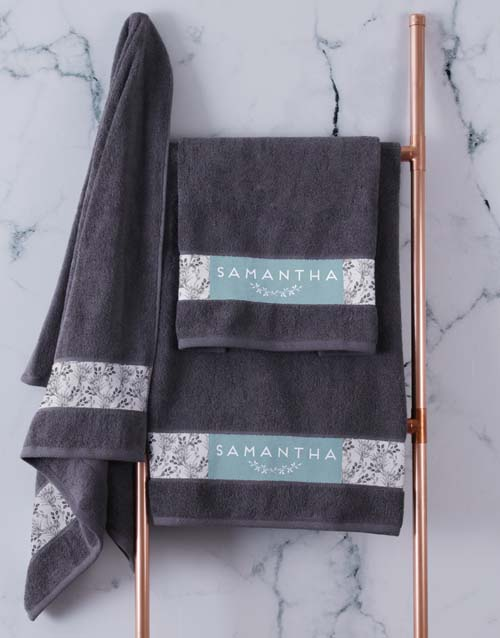 mothers-day: Personalised Protea Charcoal Towel Set!