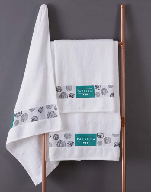 mothers-day: Personalised Circles White Towel Set!