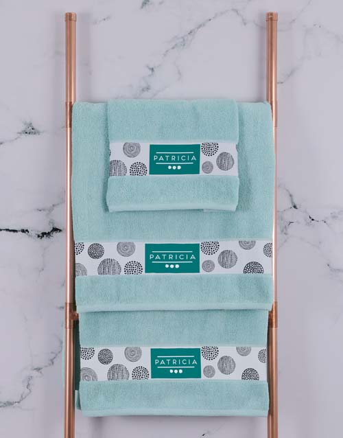 house-warming: Personalised Circles Duck Egg Towel Set!