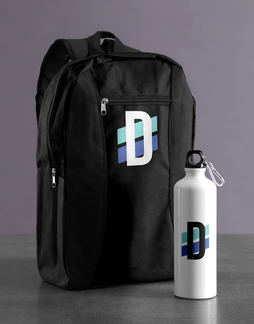 spring-day: Personalised Initial Backpack & Waterbottle!