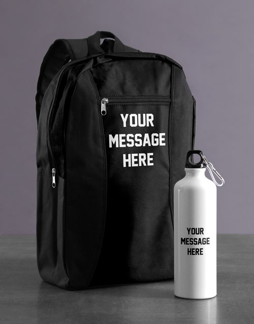 spring-day: Personalised Message Backpack & Waterbottle!