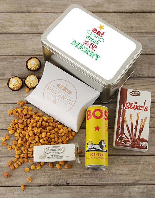 personalised: Personalised Be Merry Snack Tin!