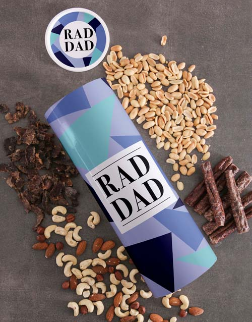 gourmet: Personalised Rad Dad Biltong And Nuts Tube!