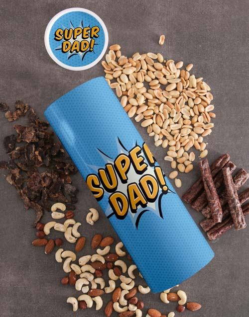 gourmet: Personalised Super Dad Biltong And Nuts Tube!