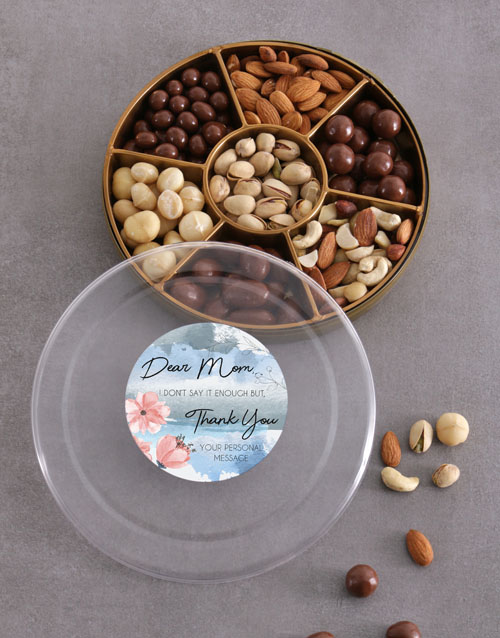 gourmet: Personalised Thank You Mom Nut Tray!
